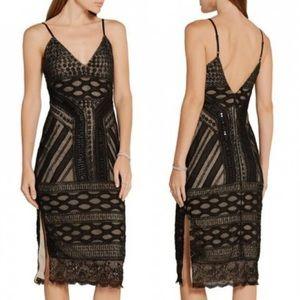Alice Olivia Silvia Black V-Neck Side Slit Dress 2